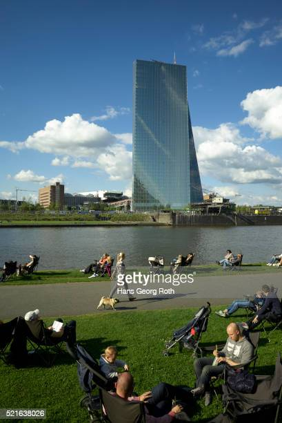 Green area opposite of the European Central Bank, ECB