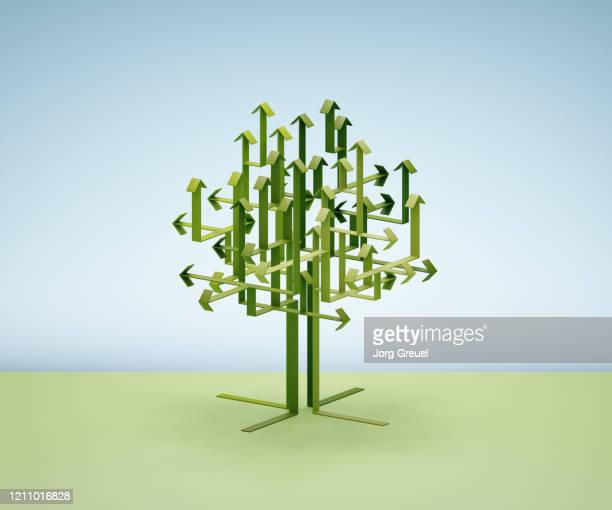 Green arrows forming a tree