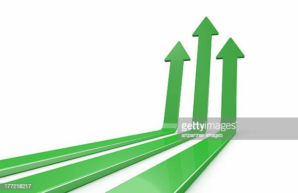 Green arrows going up together white