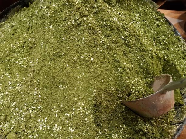 A green background of za'atar spice at the market
