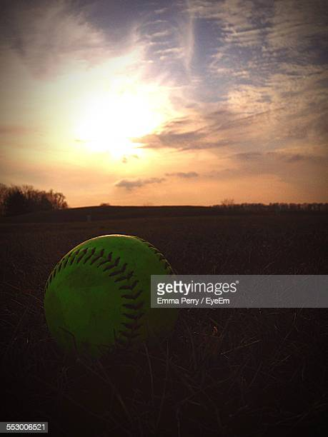 Green Baseball In Grass At Sunset