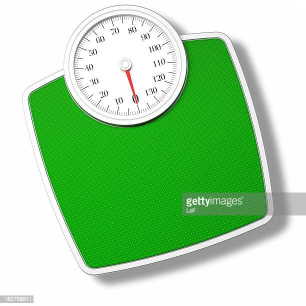 green bathroom scale isolated on withe - mass unit of measurement stock pictures, royalty-free photos & images