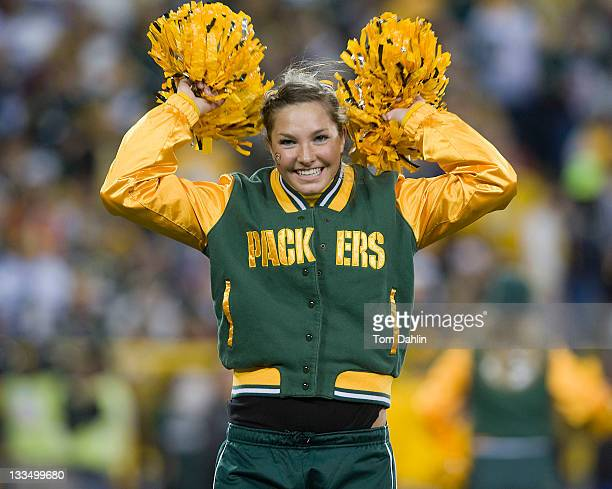 Green Bay Packer cheerleader performs during an NFL game against the Minnesota Vikings at Lambeau Field November 14 2011 in Green Bay Wisconsin The...