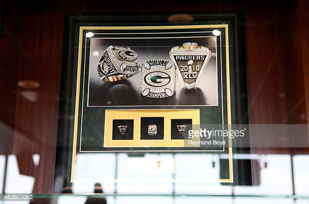 Green Bay Packers 2010 Super Bowl XLV rings are displayed in the Champions Club at Lambeau Field home of the Green Bay Packers football team on...