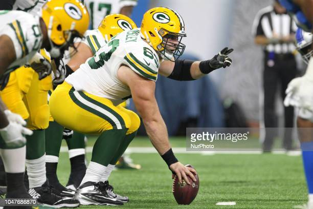 Green Bay Packers center Corey Linsley prepares to snap the ball during the first half of an NFL football game against the Green Bay Packers in...