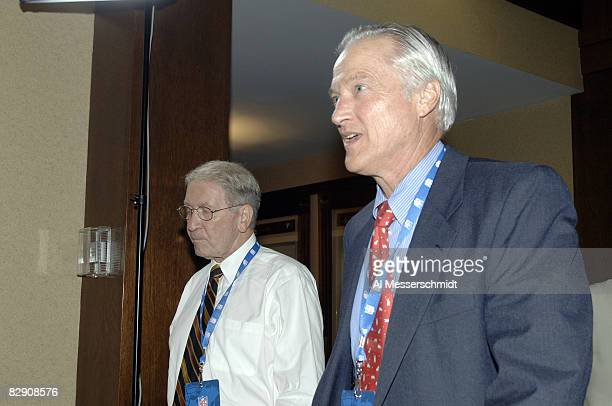 Green Bay Packers chairman of the board Bob Harlan and Chicago Bears Mike McCaskey at the NFL owners meeting to elect a new commissioner at the...