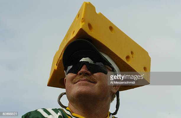 Green Bay Packers cheesehead chekcs out Alltel Field during an August 27 2004 NFL preseason game against the Jacksonville Jaguars in Jacksonville...