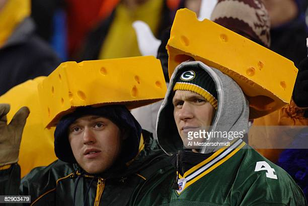 Green Bay Packers cheeseheads watch play against the Minnesota Vikings at Lambeau Field November 21 2005 in Green Bay