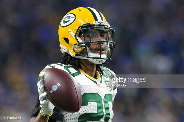 Green Bay Packers cornerback Kevin King after a play during the first half of an NFL football game against the Detroit Lions in Detroit Michigan USA...