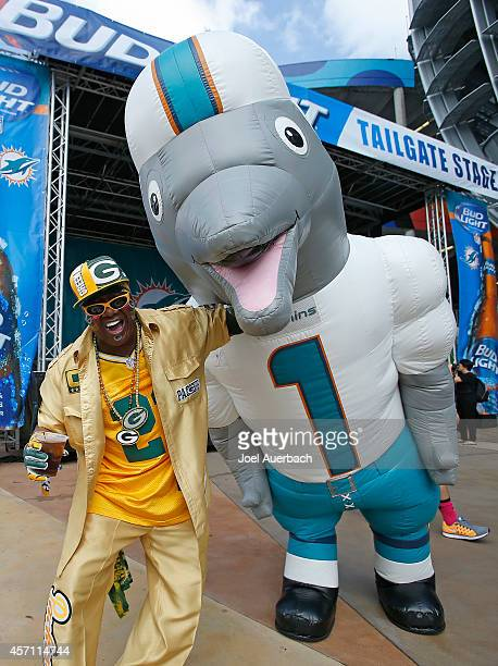 Green Bay Packers fan Anthony Leonard poses with Miami Dolphins mascot TD before the Miami Dolphins met the Green Bay Packers in their NFL game at...
