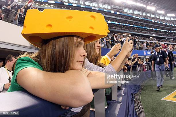 Green Bay Packers fan looks on from her seat at Cowboys Stadium as the Packers take on the Pittsburgh Steelers in Super Bowl XLV on February 6, 2011...