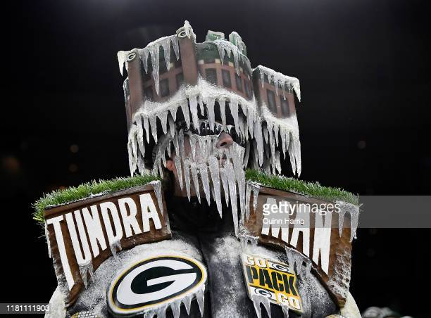 Green Bay Packers fan looks on in the first quarter of the game against the Detroit Lions at Lambeau Field on October 14 2019 in Green Bay Wisconsin