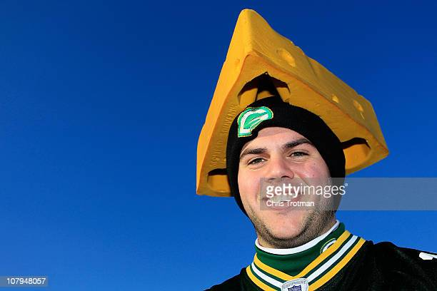 Green Bay Packers fan poses for a photo before they play against the Philadelphia Eagles in the 2011 NFC wild card playoff game at Lincoln Financial...