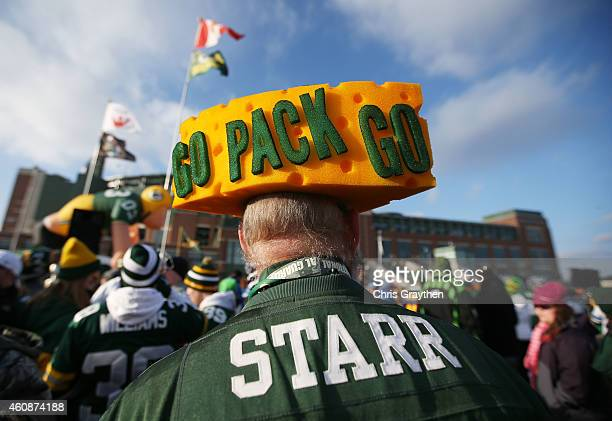 Green Bay Packers fan prepares for their game against the Detroit Lions at Lambeau Field on December 28 2014 in Green Bay Wisconsin