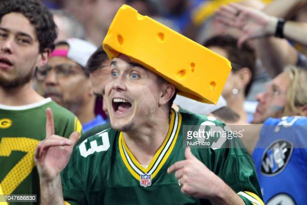 A Green Bay Packers fan reacts after a play during the second half of an NFL football game against the Green Bay Packers in Detroit Michigan USA on...