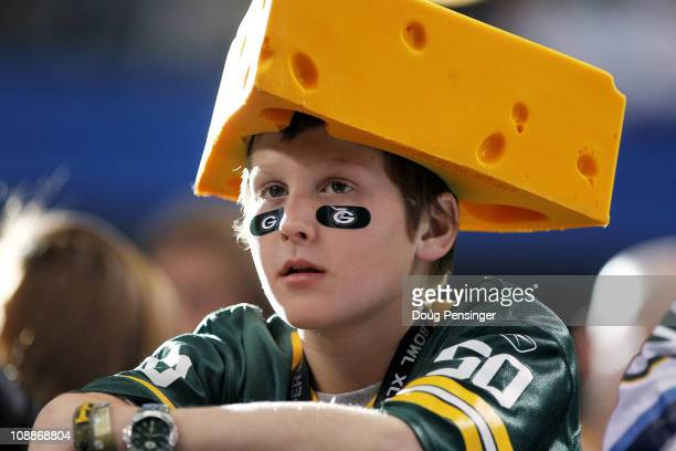 Green Bay Packers' fan waits before the Packers take on the Pittsburgh Steelers in Super Bowl XLV at Cowboys Stadium on February 6, 2011 in...