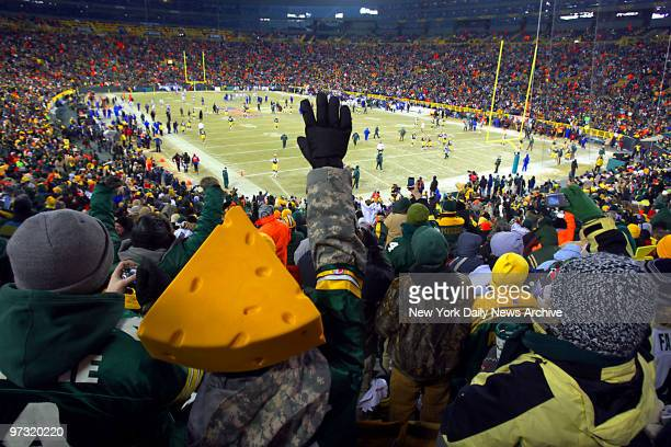 Green Bay Packers fans also known as Cheeseheads pack Lambeau Field before the start of the NFC Championship Playoff game between the Packers and the...