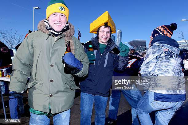 Green Bay Packers fans pose outside Soldier Field before the NFC Championship Game against the Chicago Bears at Soldier Field on January 23 2011 in...