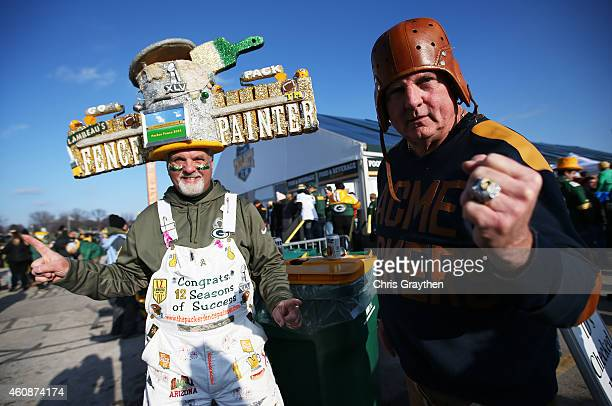 Green Bay Packers fans prepare for their game against the Detroit Lions at Lambeau Field on December 28 2014 in Green Bay Wisconsin