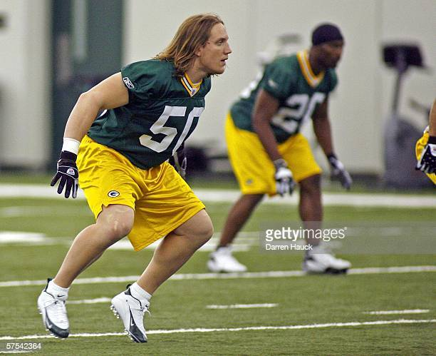 Green Bay Packers' first round draft pick AJ Hawk during practice at the first mini camp of the season at the Don Hutson Center on May 5 2006 in...
