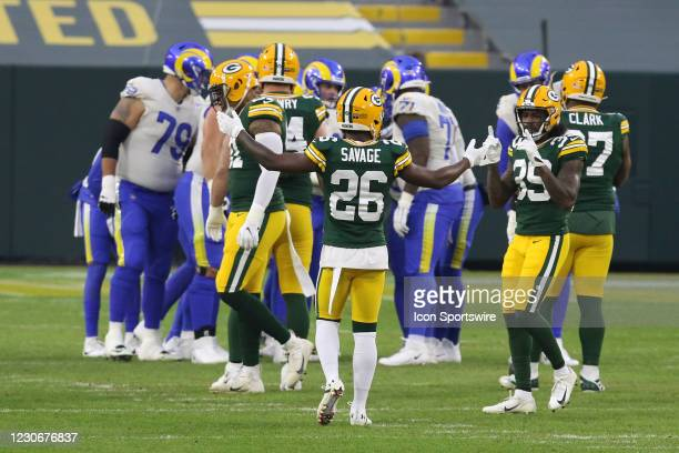 Green Bay Packers free safety Darnell Savage pumps up the crowd during a NFL Divisional Playoff game between the Green Bay Packers and the Los...