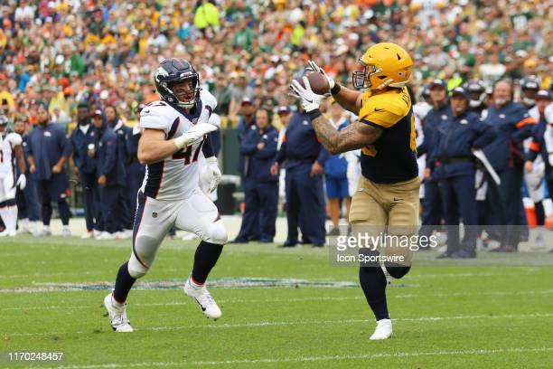 Green Bay Packers fullback Danny Vitale makes a catch during a game between the Green Bay Packers and the Denver Broncos at Lambeau Field on...