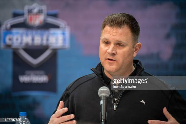 Green Bay Packers general manager Brian Gutekunst answers questions during the NFL Scouting Combine on February 27 2019 at the Indiana Convention...
