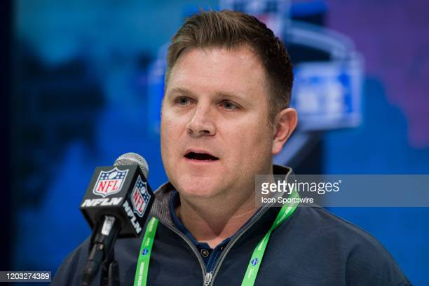 Green Bay Packers general manager Brian Gutekunst answers questions from the media during the NFL Scouting Combine on February 25 2020 at the Indiana...