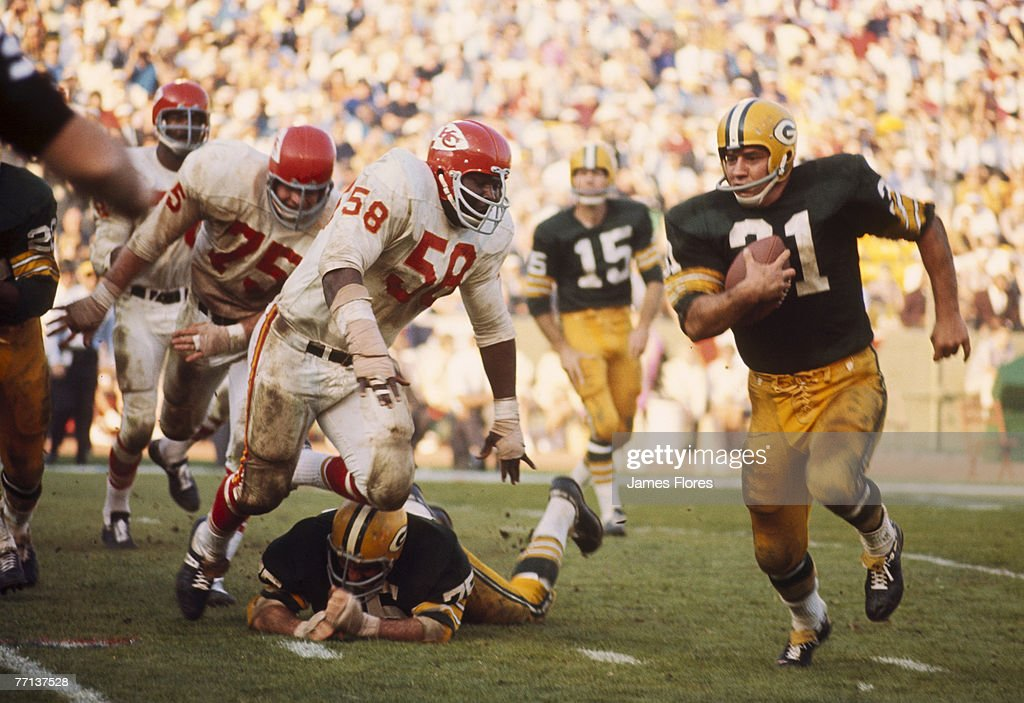 Green Bay Packers Hall of Fame fullback Jim Taylor (31) carries the ball during Super Bowl I, a 35-10 victory over the Kansas City Chiefs on January 15, 1967, at the Los Angeles Memorial Coliseum in Los Angeles, California.