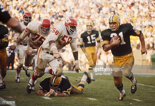 Green Bay Packers Hall of Fame fullback Jim Taylor carries the ball during Super Bowl I a 3510 victory over the Kansas City Chiefs on January 15 at...
