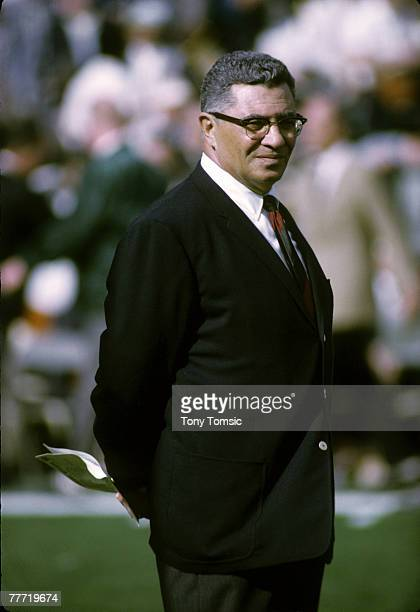 Green Bay Packers Hall of Fame head coach Vince Lombardi stalks the sidelines during Super Bowl II a 3314 victory over the Oakland Raiders on January...