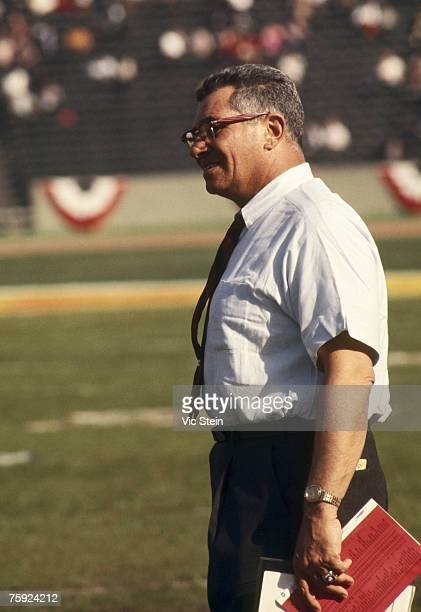Green Bay Packers Hall of Fame head coach Vince Lombardi watches his team in admiration during Super Bowl I a 3510 victory over the Kansas City...
