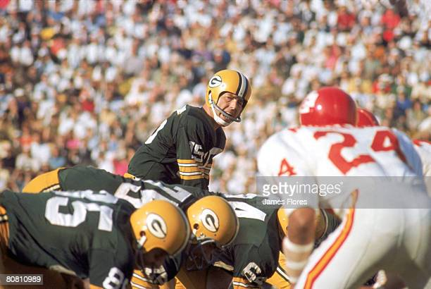 Green Bay Packers Hall of Fame quarterback Bart Starr barks signals during Super Bowl I a 3510 victory over the Kansas City Chiefs on January 15 at...