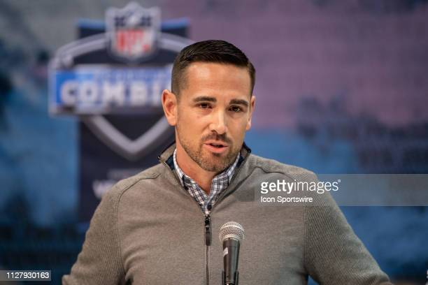 Green Bay Packers head coach Matt LaFleur answers questions from the media during the NFL Scouting Combine on February 27 2019 at the Indiana...