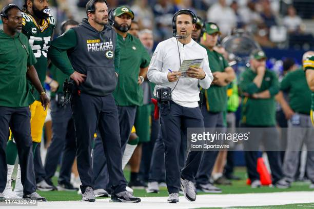 Green Bay Packers head coach Matt LaFleur looks up at the scoreboard during the game between the Green Bay Packers and Dallas Cowboys on October 6,...