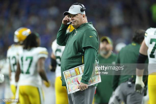 Green Bay Packers head football coach Mike McCarthy watches the warms ups prior to the start of the game against the Detroit Lions at Ford Field on...