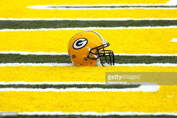 Green Bay Packers' helmet lies in the end zone at the first mini camp of the season at the Don Hutson Center on May 5 2006 in Green Bay Wisconsin