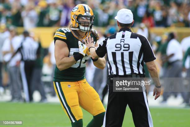 Green Bay Packers linebacker Clay Matthews pleads his case with referee Tony Corrente during a game between the Green Bay Packers and the Minnesota...