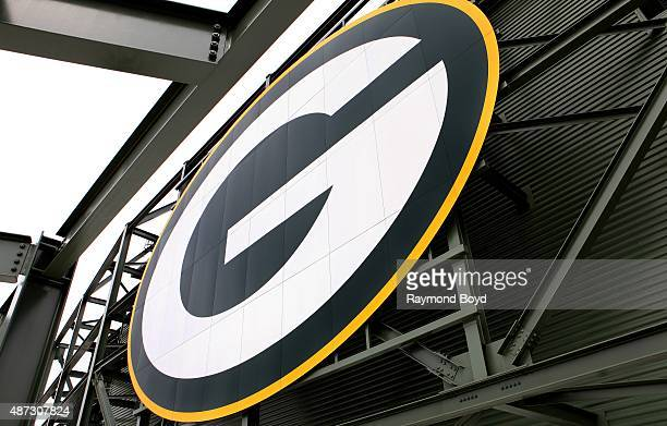 Green Bay Packers logo inside Lambeau Field home of the Green Bay Packers football team on August 31 2015 in Green Bay Wisconsin