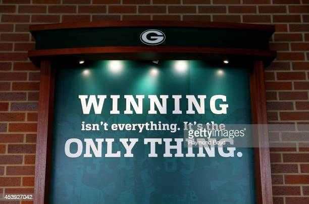 Green Bay Packers motto WINNING isn't everything it's the ONLY THING is displayed in the Champions Club at Lambeau Field home of the Green Bay...