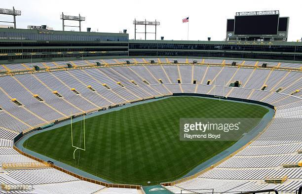 Green Bay Packers playing field at Lambeau Field home of the Green Bay Packers football team on August 16 2014 in Green Bay Wisconsin
