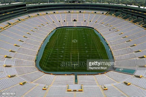 Green Bay Packers playing field at Lambeau Field home of the Green Bay Packers football team on August 31 2015 in Green Bay Wisconsin