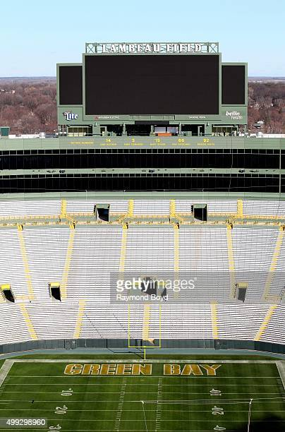 Green Bay Packers playing field at Lambeau Field, home of the Green Bay Packers football team on November 20, 2015 in Green Bay, Wisconsin.
