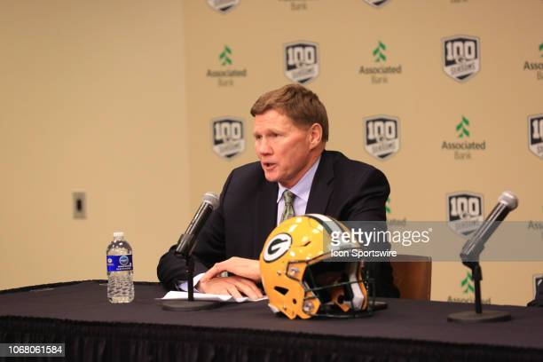 Green Bay Packers President and CEO Mark Murphy answers a question addresses at a press conference following the firing of Green Bay Packers head...