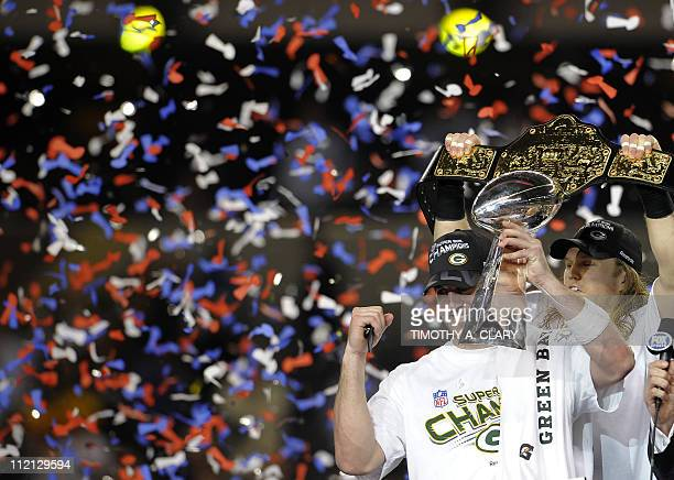 Green Bay Packers quarterback Aaron Rodgers and Clay Matthews celebrate after the Packers defeated the Pittsburgh Steelers 3125 in the NFL Super Bowl...