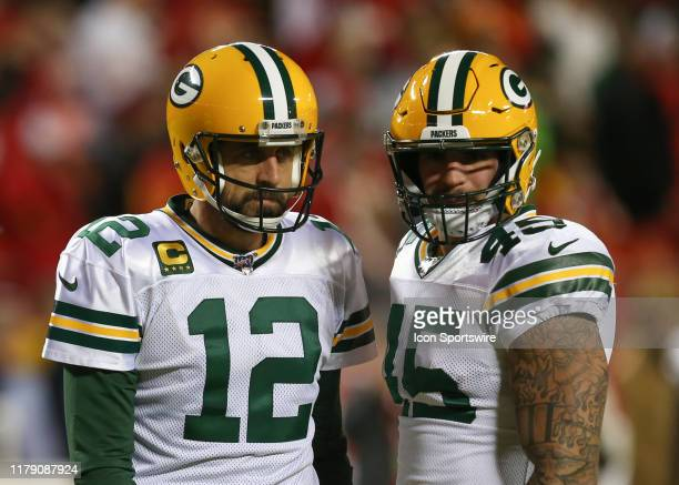 Green Bay Packers quarterback Aaron Rodgers and fullback Danny Vitale before an NFL game between the Green Bay Packers and Kansas City Chiefs on...
