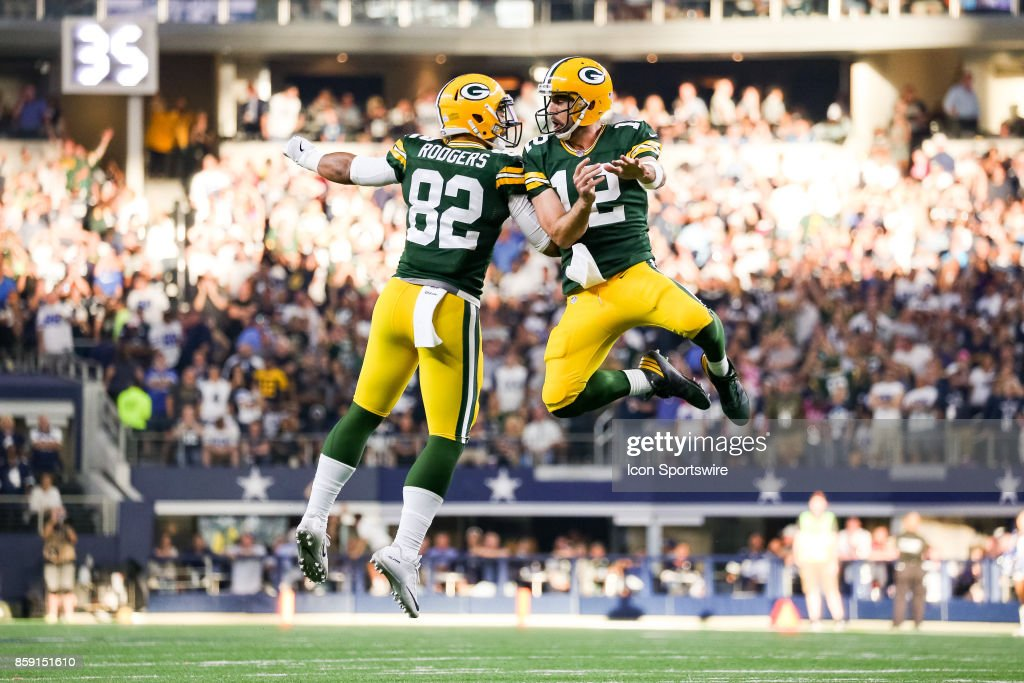 Green Bay Packers Quarterback Aaron Rodgers 12 And Tight End Richard 82