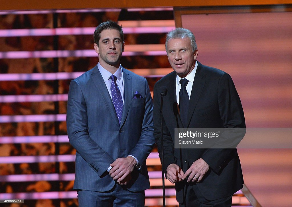 Green Bay Packers quarterback Aaron Rodgers (L) attends the 3rd Annual NFL Honors at Radio City Music Hall on February 1, 2014 in New York City.