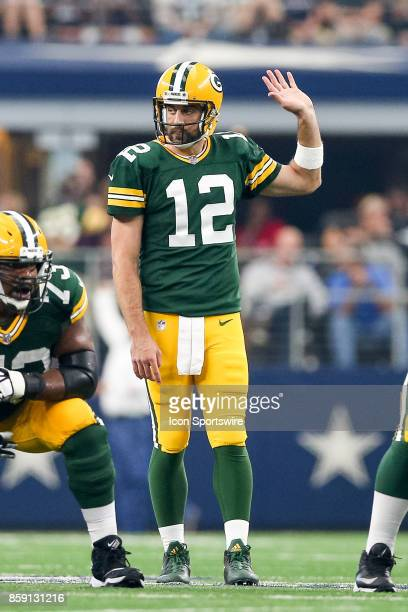 Green Bay Packers quarterback Aaron Rodgers calls an audible during the football game between the Green Bay Packers and Dallas Cowboys on October 8,...