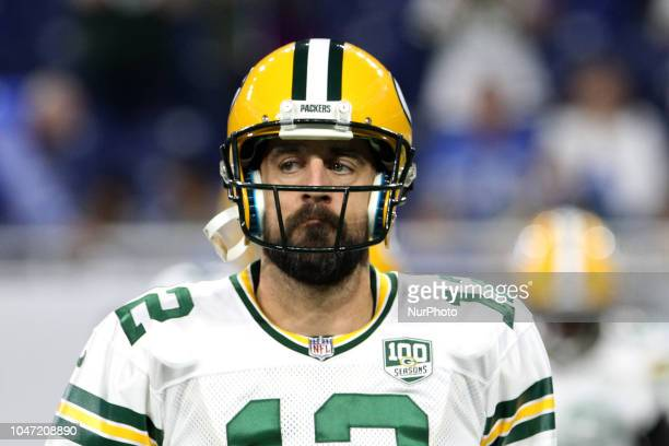 Green Bay Packers quarterback Aaron Rodgers during practice of an NFL football game against the Detroit Lions in Detroit Michigan USA on Sunday...